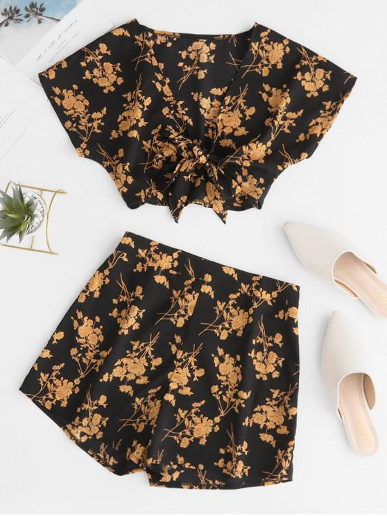 affordable Floral Print Knotted Crop Top and Shorts Set - BLACK S