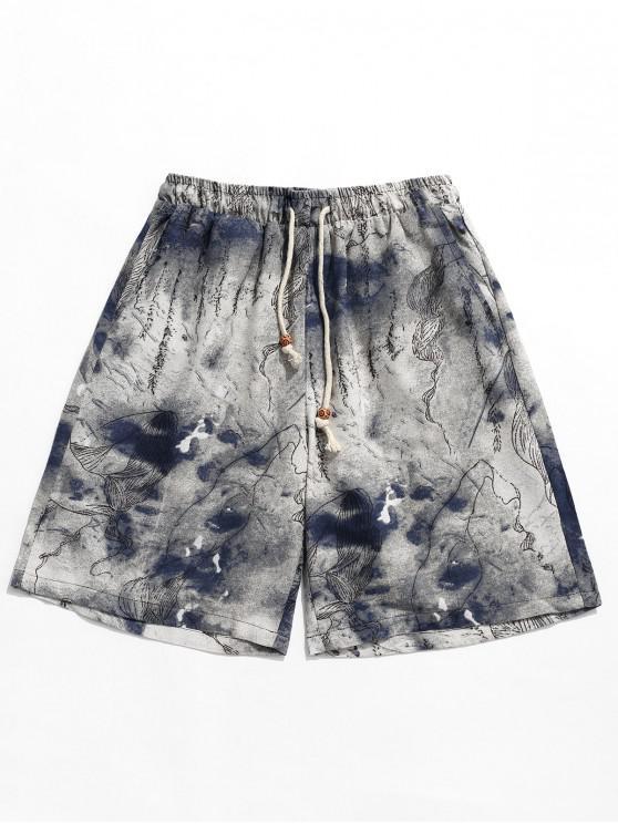 best Tie Dye Flowers Print Drawstring Leisure Shorts - MULTI M