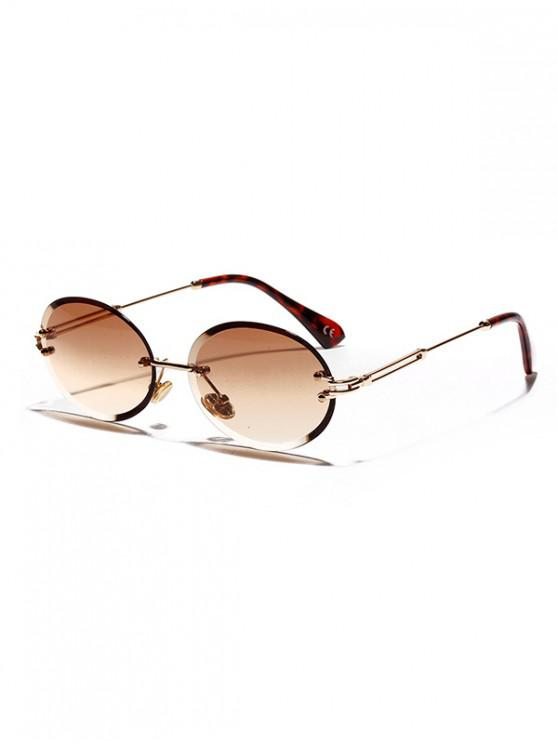 women Cutting Edge Oval Rimless Sunglasses - LIGHT BROWN