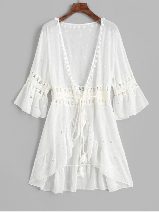 fancy Flounce Crochet Panel Pom-pom Starry Cover-up - WHITE ONE SIZE