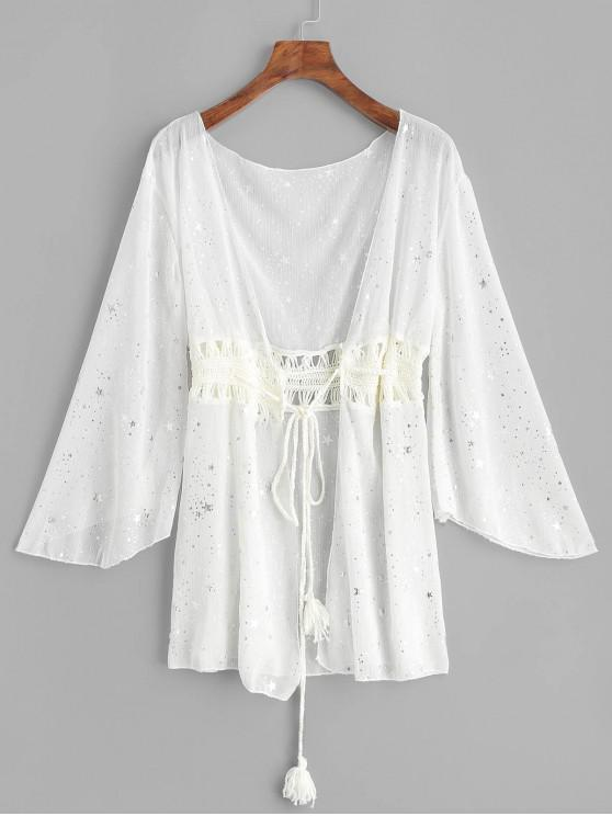 unique Crochet Panel Starry Drawstring Sheer Cover-up - WHITE ONE SIZE