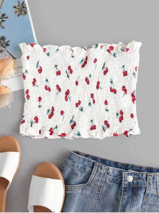 affordable ZAFUL Smocked Cherry Print Bandeau Top - WHITE L