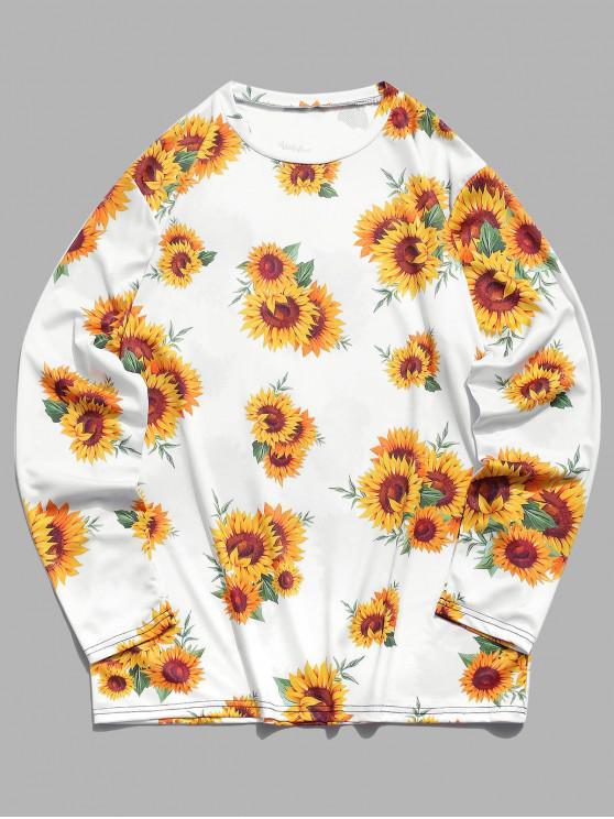 new Long Sleeves Sunflower Print T-shirt - WHITE 4XL