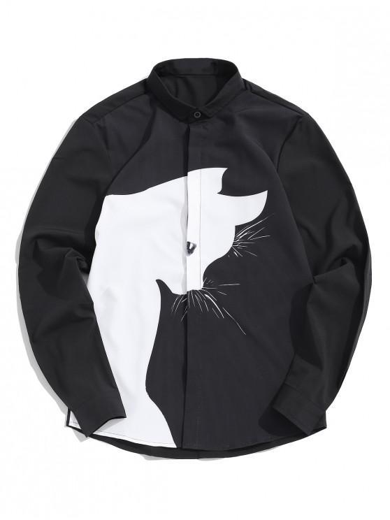 chic Cartoon Cat Print Button Up Casual Shirt - BLACK 4XL