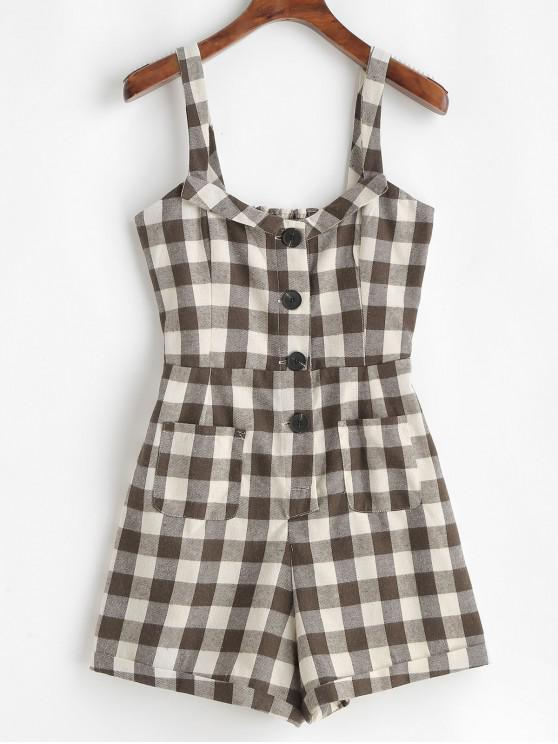 outfit Pockets Cuffed Plaid Button Up Romper - MULTI-A L