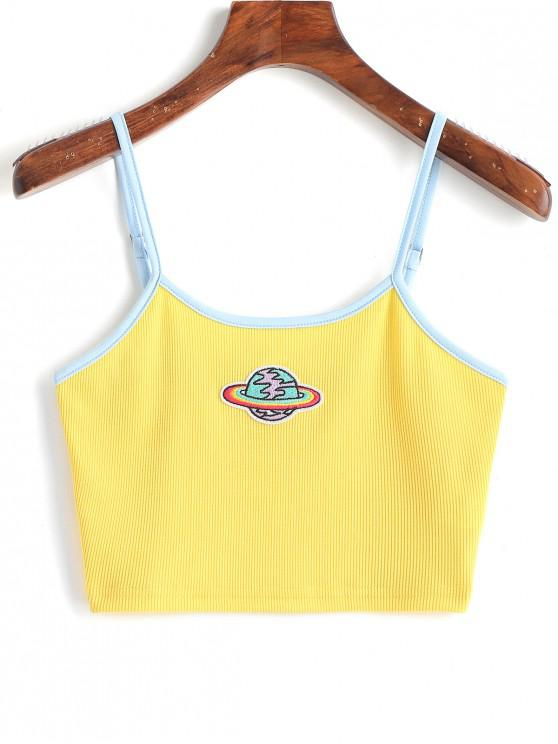 unique Planet Embroidered Patched Ringer Cami Top - YELLOW L