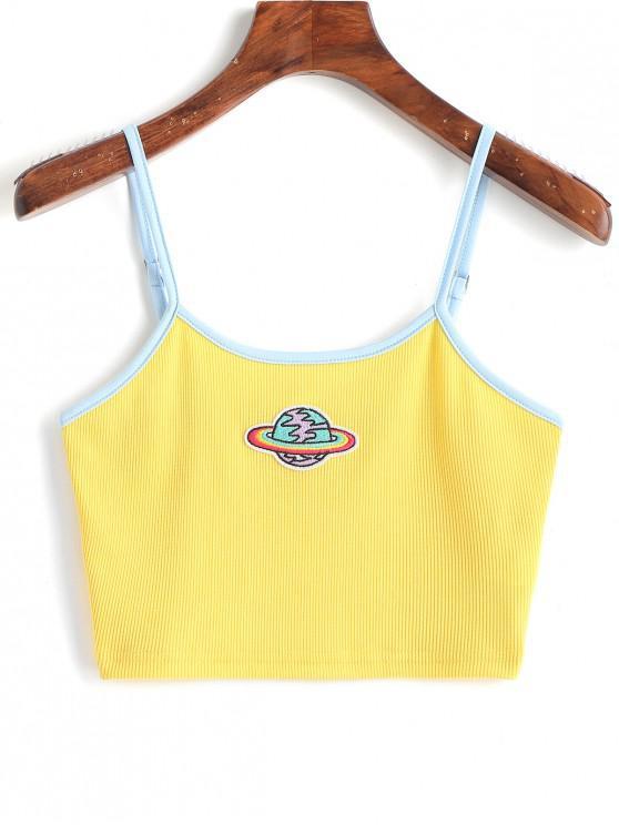 Camiseta de camuflaje de ringer con parches bordados del planeta - Amarillo M