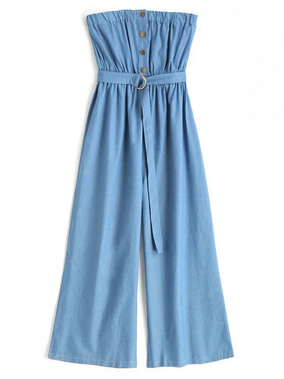 women Belted Half Buttoned Chambray Wide Leg Jumpsuit - DENIM BLUE M