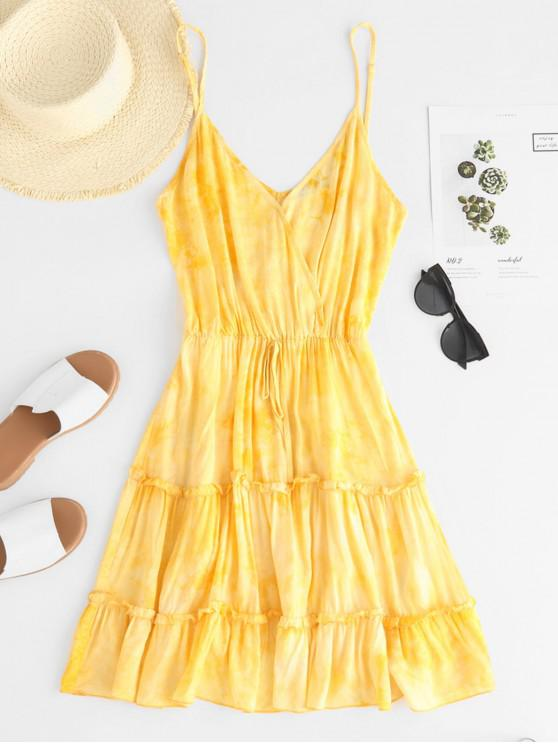affordable ZAFUL Tie Dye Frilled A Line Cami Dress - SUN YELLOW M