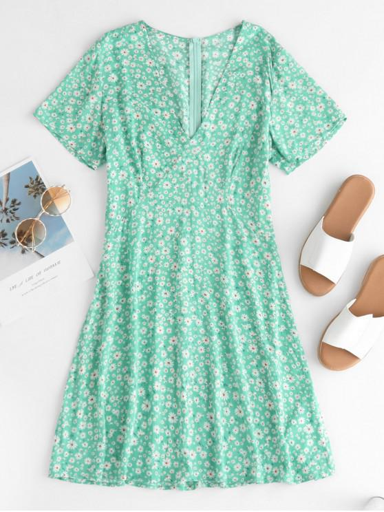 trendy ZAFUL Ditsy Floral Plunge Mini A Line Dress - MACAW BLUE GREEN M