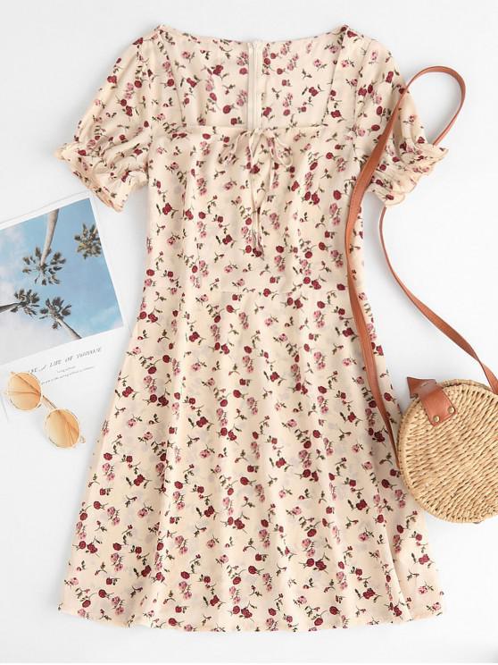 women ZAFUL Ruffled Cuffs Ditsy Floral Sweetheart Neck Dress - BEIGE M