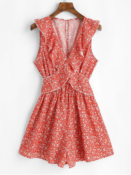 Ruffles Ditsy Floral mini abito senza maniche - Rosso S