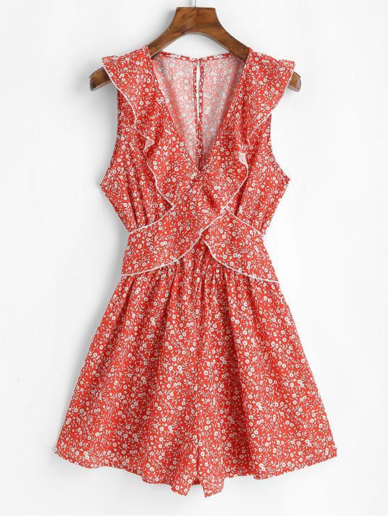 Ruffles Ditsy Floral mini abito senza maniche - Rosso M