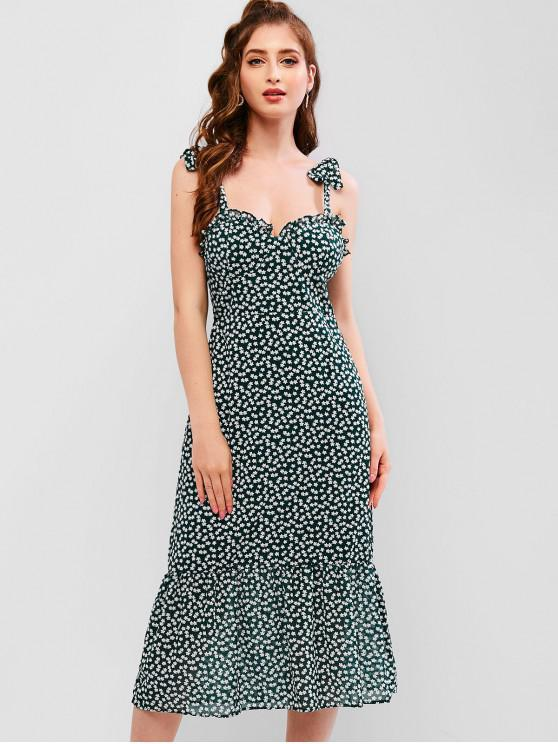 shops Floral Smocked Tied Straps Tea Dress - GREEN M