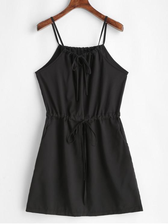 latest Drawstring Solid A Line Cami Dress - BLACK L