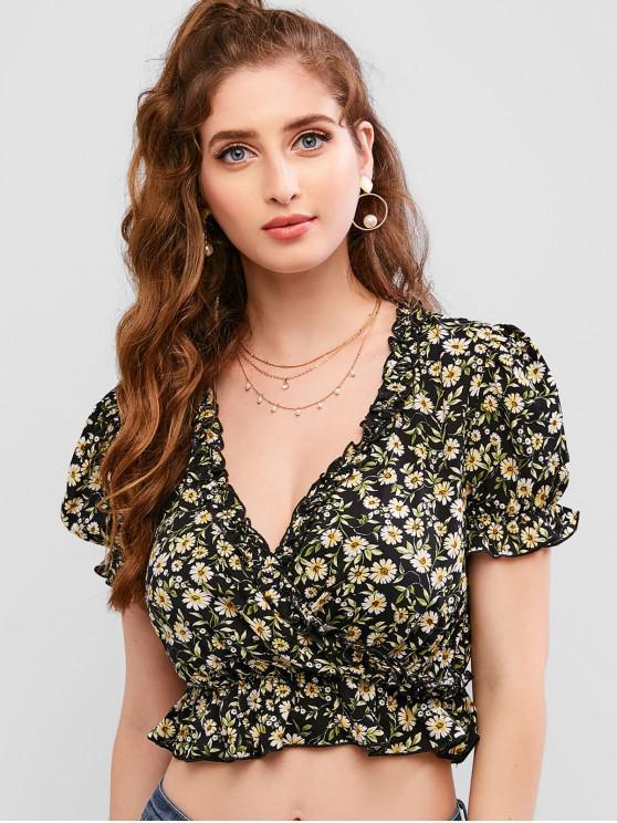 outfit ZAFUL Floral Print Ruffles Surplice Crop Blouse - BLACK S