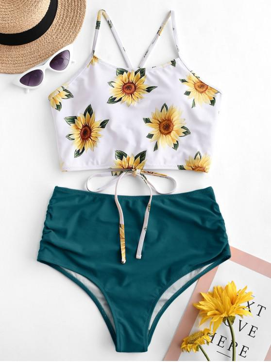 fashion ZAFUL Crisscross Ruched Sunflower Tankini Set - GREENISH BLUE M