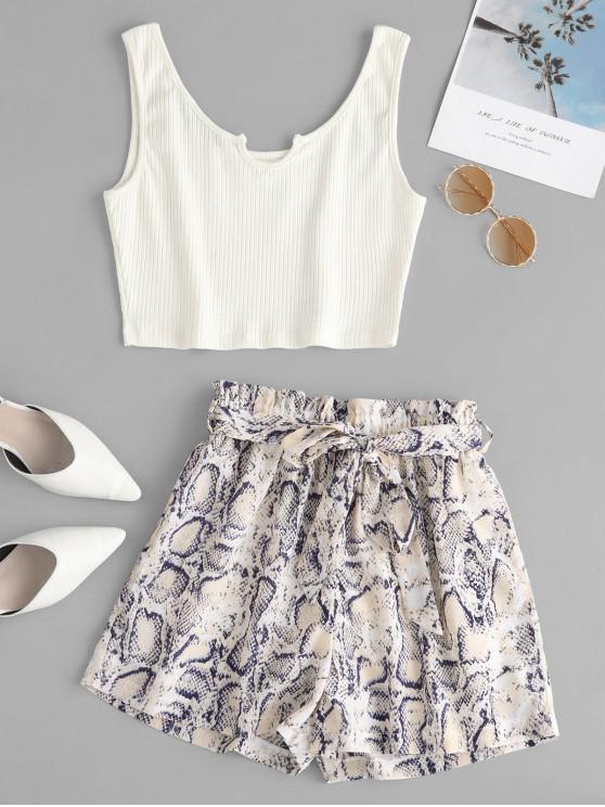 Conjunto de pantalones cortos de bolsa de papel con estampado de serpiente y top acanalado ZAFUL - Multicolor L