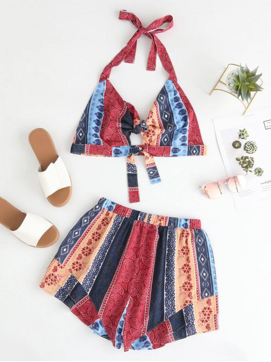 fashion ZAFUL Knotted Hippie Printed Bralette Top And Shorts Set - MULTI L
