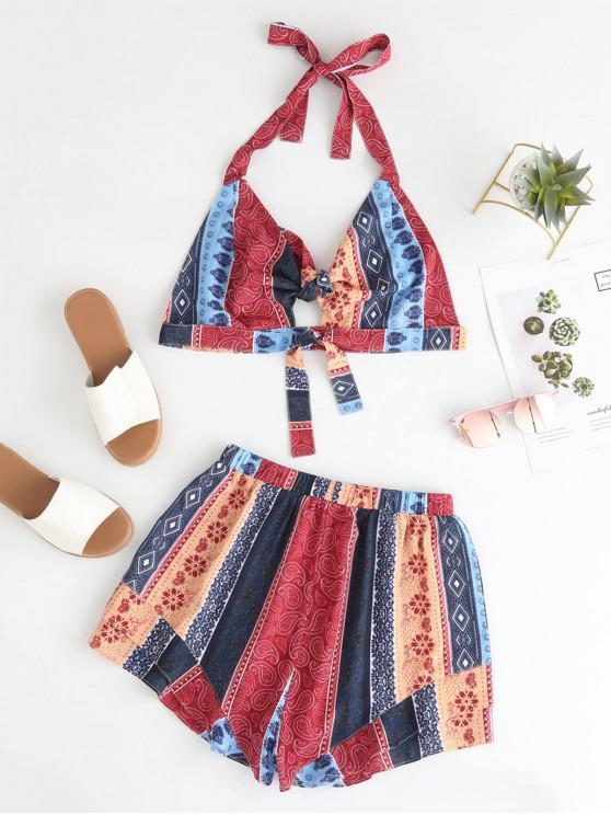 Conjunto de top y pantalones cortos de bralette con estampado hippie anudado y con nudos - Multicolor L