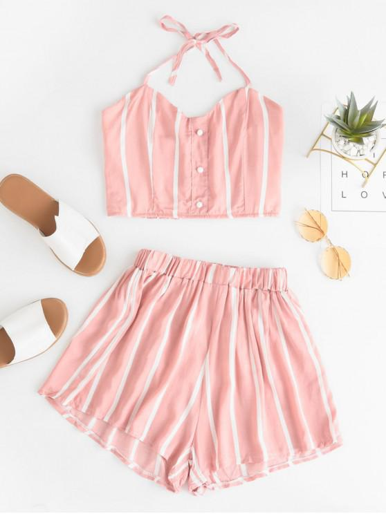 women's Striped Smocked Loose Shorts Set - PINK L