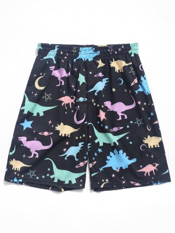 Shorts de tablero con estampado de estrellas y luna de dinosaurio - Negro XL