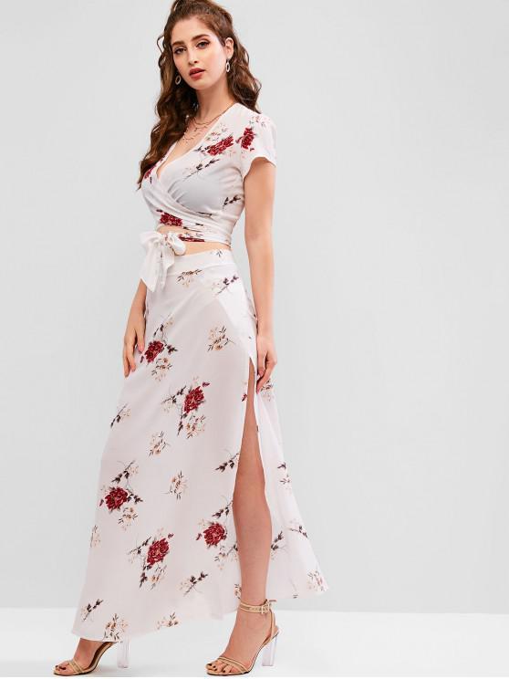 fashion Floral Print Tie Front Overlap Skirt Set - WHITE S