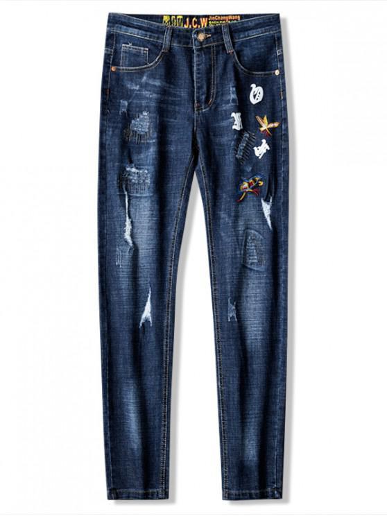 Bordado patchwork rayado jeans largos - Lapislázuli 36
