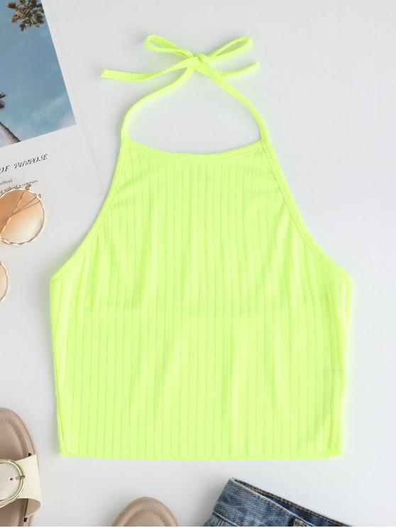 women Open Back Halter Knit Crop Top - TEA GREEN S