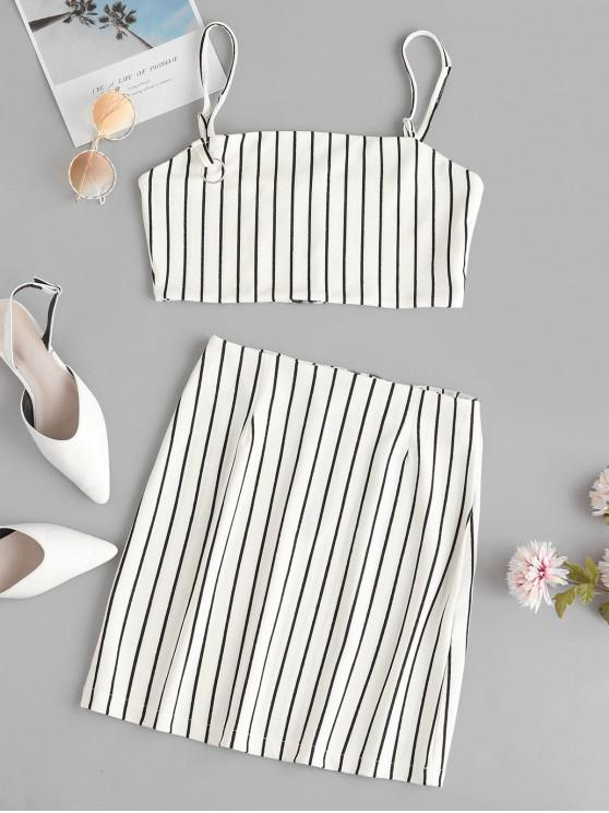 latest Striped Crop Top and Zip Front Skirt Set - WHITE L
