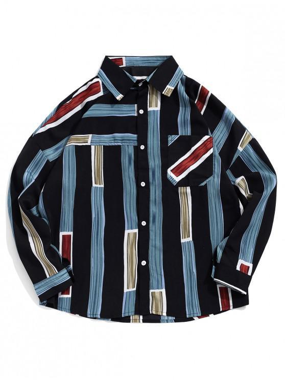 women's Striped Print Long Sleeves Drop Shoulder  Shirt - BLACK M