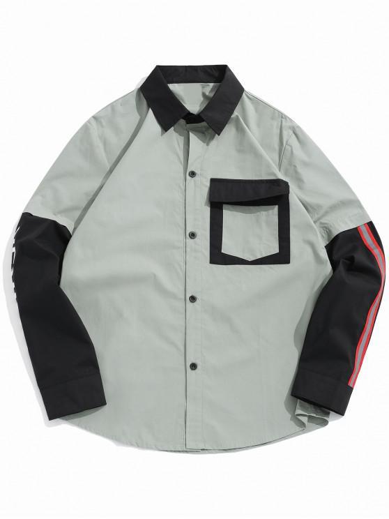6d7831b57 Camisa mangas largas color block empalmado botón - Verde de Tortuga Marina L