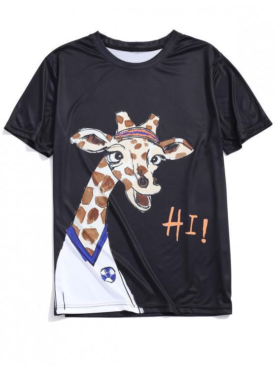 shop Cartoon Giraffe Player Print Graphic Short Sleeves T-shirt - BLACK M