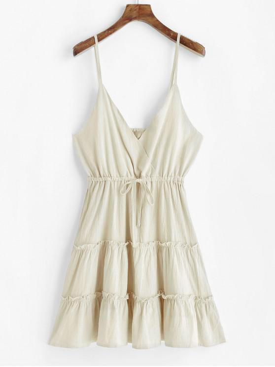 affordable Drawstring Surplice Cami Mini Dress - APRICOT L