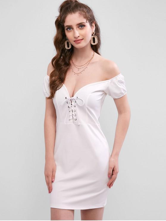 Облегающее Платье С открытыми плечами На шнуровке - Белый M