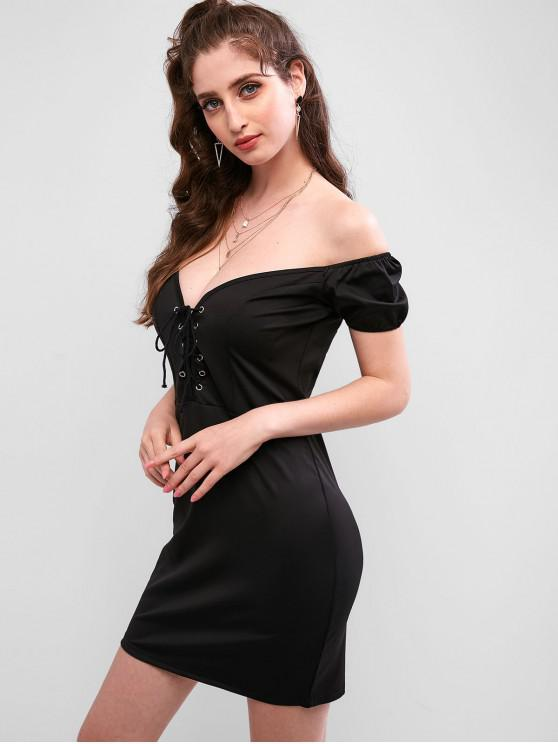 latest Off The Shoulder Lace-up Bodycon Dress - BLACK L