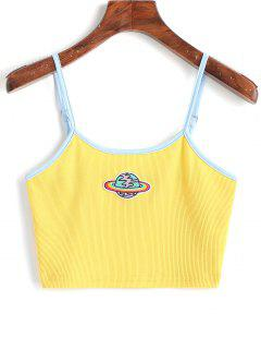 Planet Embroidered Patched Ringer Cami Top - Yellow S