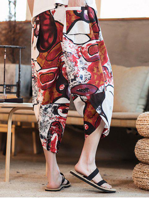 Pantalon Sarouel Décontracté Graphique Peinture Colorée Imprimée - Rouge L Mobile