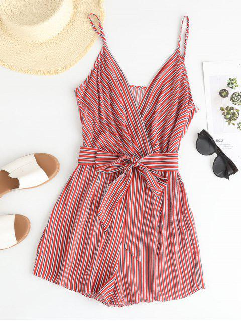 trendy ZAFUL Striped Surplice Belted Cami Romper - MULTI-A M Mobile