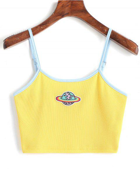 new Planet Embroidered Patched Ringer Cami Top - YELLOW S Mobile