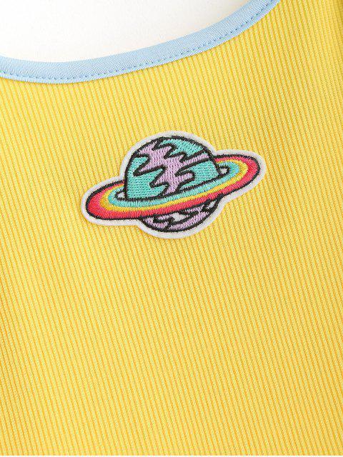 Camiseta de camuflaje de ringer con parches bordados del planeta - Amarillo S Mobile
