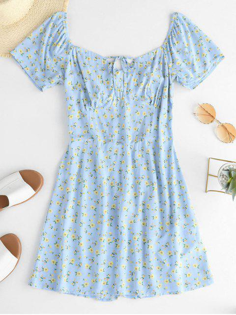 unique ZAFUL Ditsy Floral Smocked Back Sweetheart Neck Tunic Dress - BLUE GRAY S Mobile