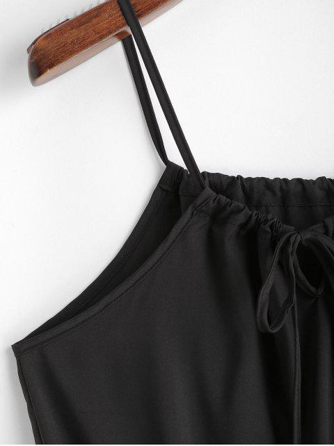 Robe Ligne A en Couleur Unie à Bretelle à Cordon - Noir XL Mobile