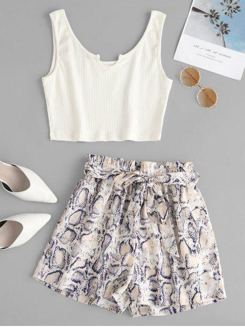 hot ZAFUL Ribbed Top And Snake Print Paperbag Shorts Set - MULTI S Mobile
