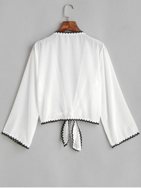 fashion Crochet Trim Tie Front Semi Sheer Cover-up - WHITE ONE SIZE Mobile
