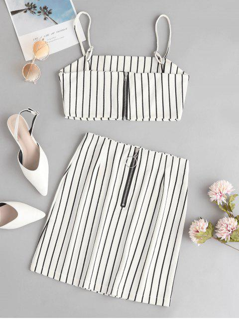 outfit Striped Crop Top and Zip Front Skirt Set - WHITE M Mobile