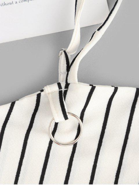 latest Striped Crop Top and Zip Front Skirt Set - WHITE L Mobile