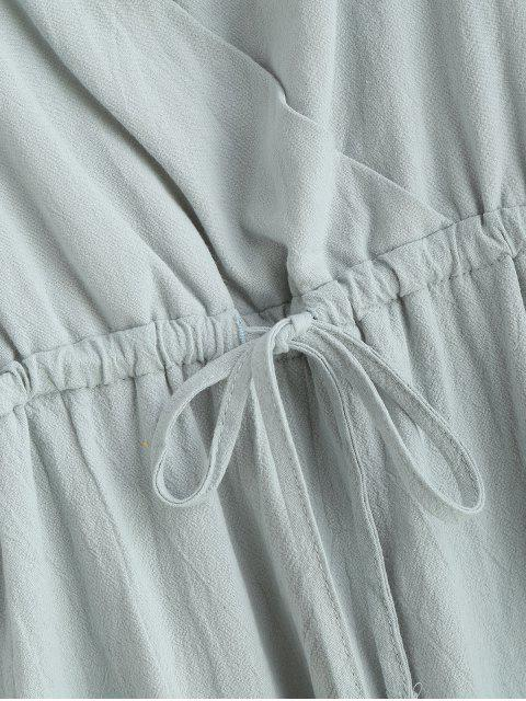 best Drawstring Surplice Cami Mini Dress - CYAN OPAQUE S Mobile