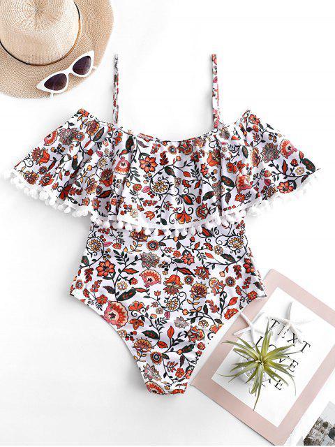latest ZAFUL Bohemian Flower Pom Pom Flounce Cami Swimsuit - MULTI-A S Mobile