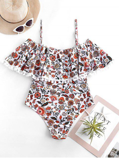 women ZAFUL Bohemian Flower Pom Pom Flounce Cami Swimsuit - MULTI-A XL Mobile